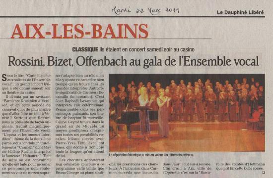 Article Dauphiné Libéré mars 2011
